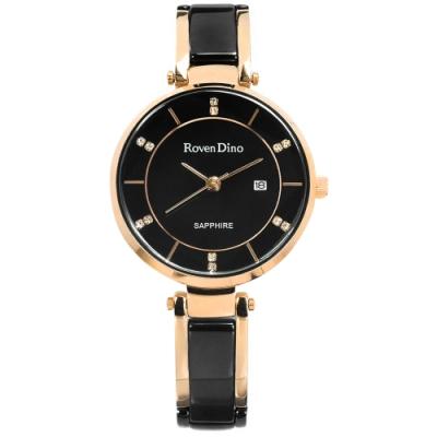 羅梵迪諾 Roven Dino 簡約典雅 晶鑽刻度 日期 不鏽鋼手錶-黑x玫瑰金/30mm