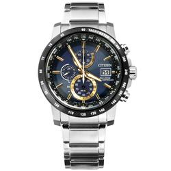 CITIZEN 星辰表 光動能電波萬年曆藍寶石水晶防水不鏽鋼手錶-藍黑色/43mm