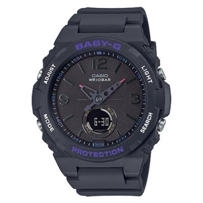 CASIO 卡西歐 BABY-G露營風潮復古褪色感錶-灰紫(BGA-260-1A)