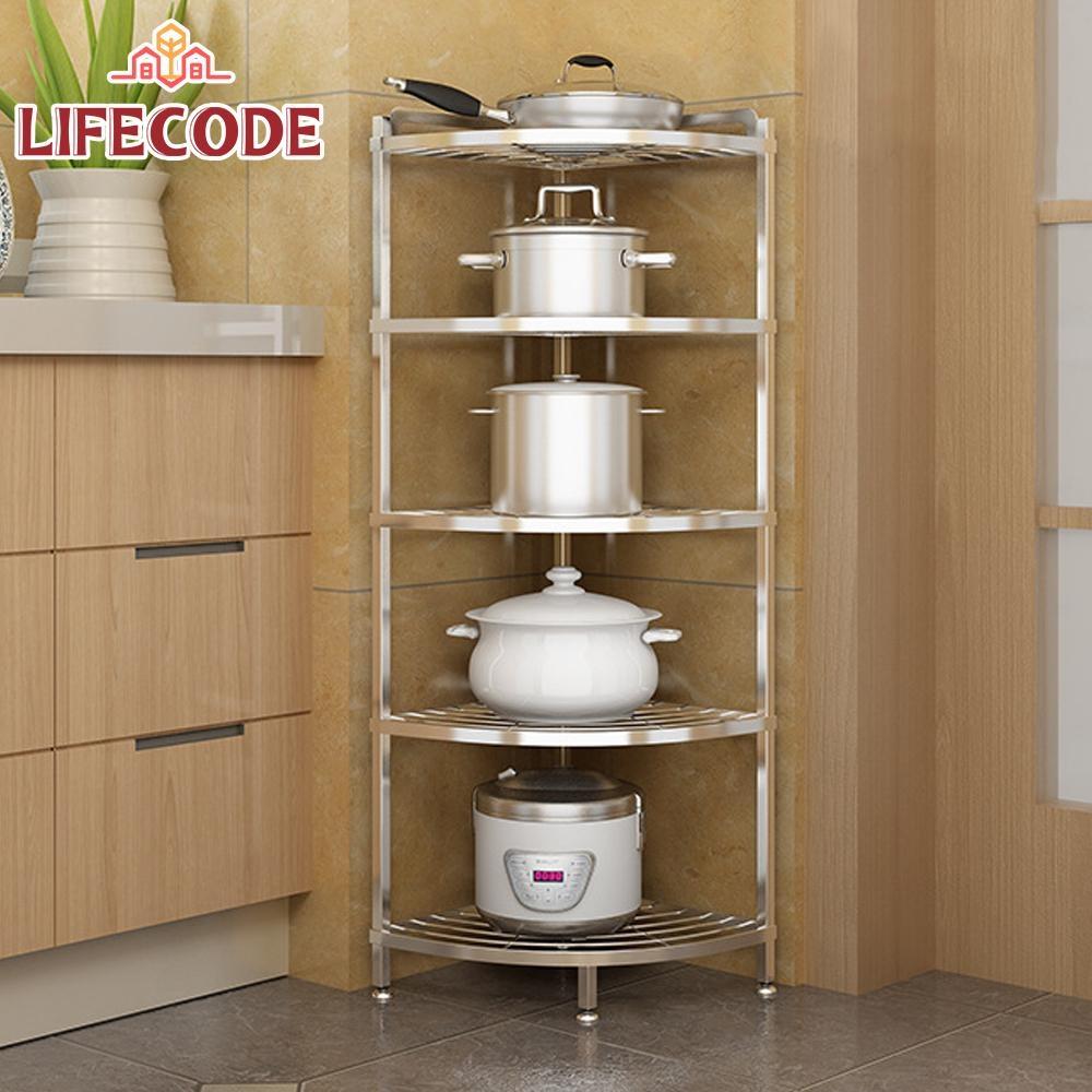 LIFECODE《收納王》不鏽鋼五層角落架(鍋具架/浴室架)