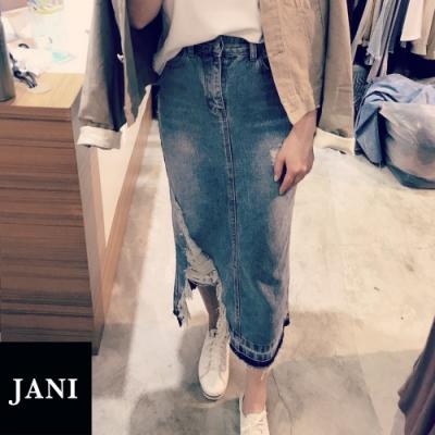 JANI 韓版 秋冬七分抽鬚牛仔裙