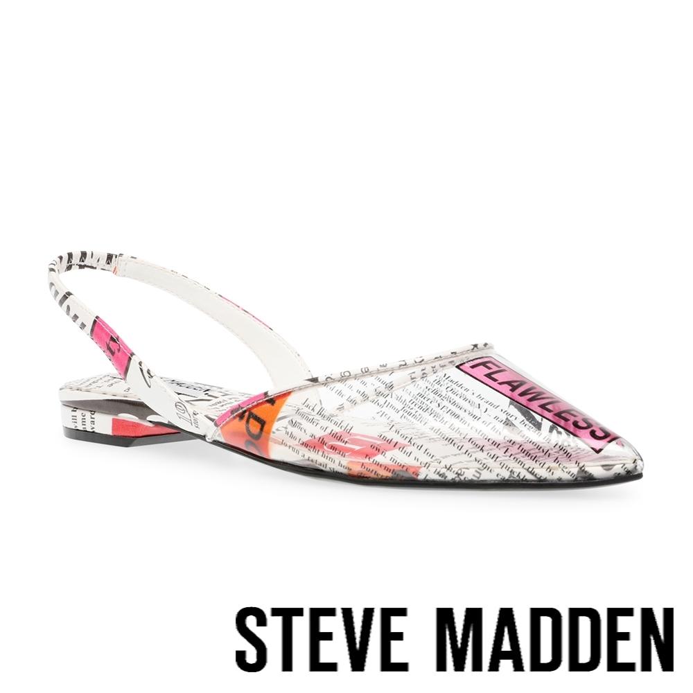 STEVE MADDEN-JOSEY-V 文字印花尖頭平底涼鞋-印花白