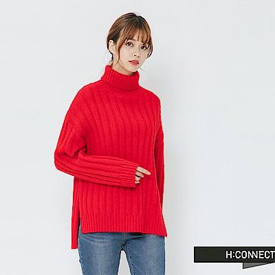 H:CONNECT 韓國品牌 女裝-側開岔坑條翻領針織上衣-紅