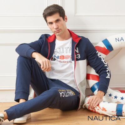 Nautica拼接旗語造型刷毛立領外套-深藍