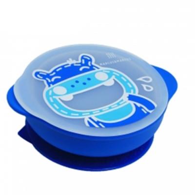 【MARCUS&MARCUS】動物樂園幼兒自主學習吸盤碗含蓋-河馬(藍)