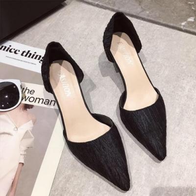 KEITH-WILL時尚鞋館 獨家款OL風尖頭細跟鞋 黑