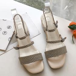 KEITH-WILL時尚鞋館 追加款名品概念好穿粗跟涼鞋 米白