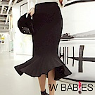 正韓 彈性包臀坑條針織魚尾長裙 (黑色)-W BABIES