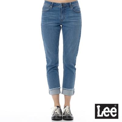 Lee 牛仔褲 401 中腰合身小直筒 女 中藍 彈性 七分長