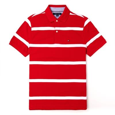 TOMMY 經典刺繡Logo短袖Polo衫-紅白條紋色