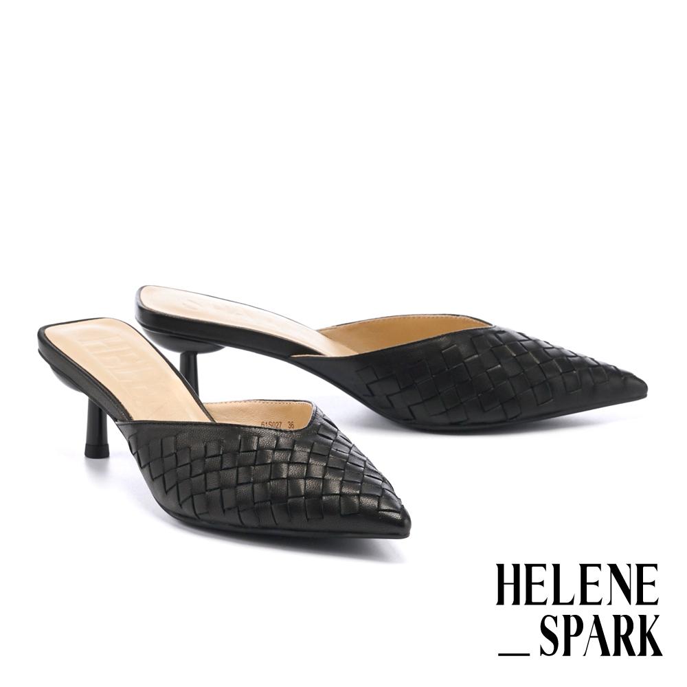 穆勒鞋 HELENE SPARK 時髦質感編織全羊皮尖頭高跟穆勒拖鞋-黑