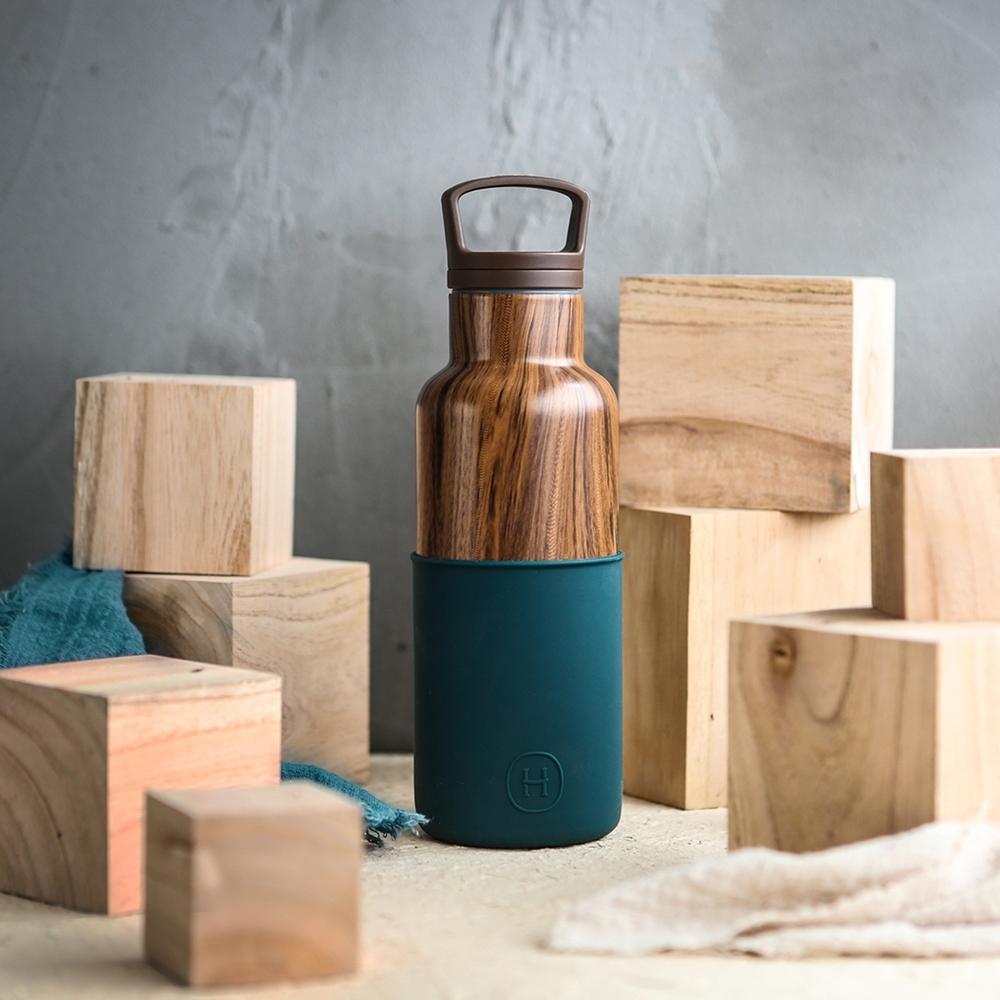 HYDY時尚水瓶CinCin Deco系列 孔雀綠-木紋 不鏽鋼保溫瓶480ml