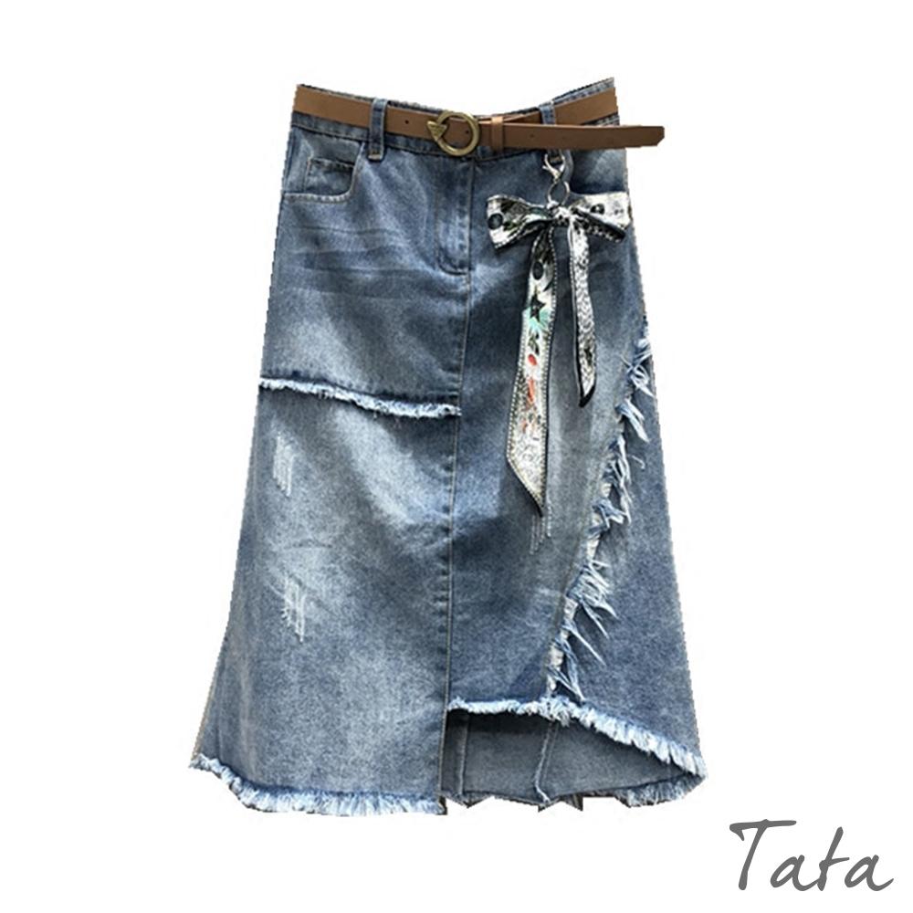 不規則抽鬚吊飾牛仔裙 TATA-(S~L)