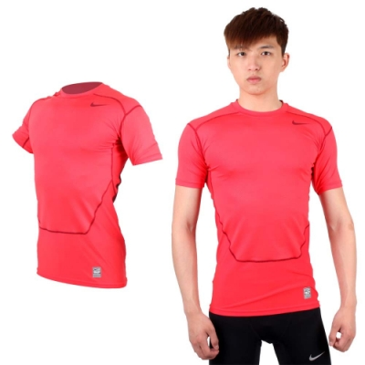 NIKE PRO COMBAT 男短袖緊身衣-針織 健身 重訓 緊身T恤 玫紅