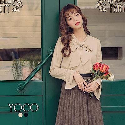 東京著衣-yoco 金秘書袖口造型拼接綴珍珠綁帶襯衫-S.M.L(共二色)
