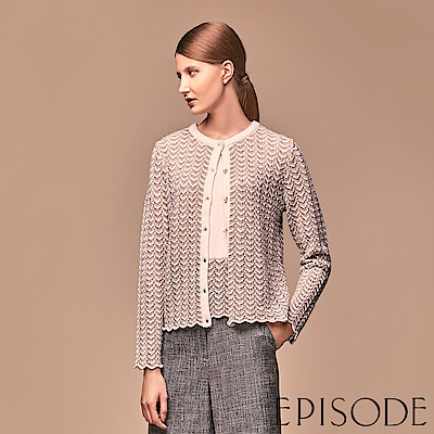 EPISODE - 金杏混紗水波立體鏤空織紋針織外套