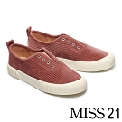 休閒鞋 MISS 21 簡約復古無綁帶壓紋絨布厚底休閒鞋-粉