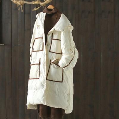 撞色口袋按扣開叉抽繩連帽棉服寬鬆加厚麵包服外套-設計所在