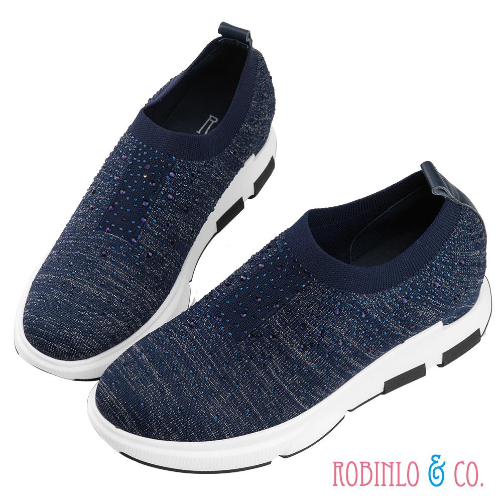 Robinlo 貴氣滿版鑲鑽鬆緊休閒鞋 藍