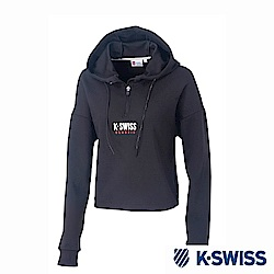 K-SWISS Hooded Sweat Half Zip up休閒連帽上衣-女-黑