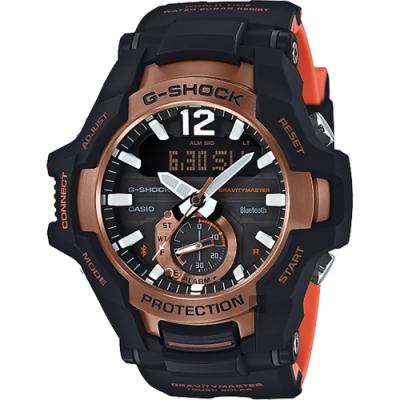 CASIO 卡西歐 G-SHOCK 飛行員太陽能藍牙手錶-橘(GR-B100-1A4)