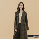 H:CONNECT 韓國品牌 女裝-格紋長板綁帶襯衫-棕