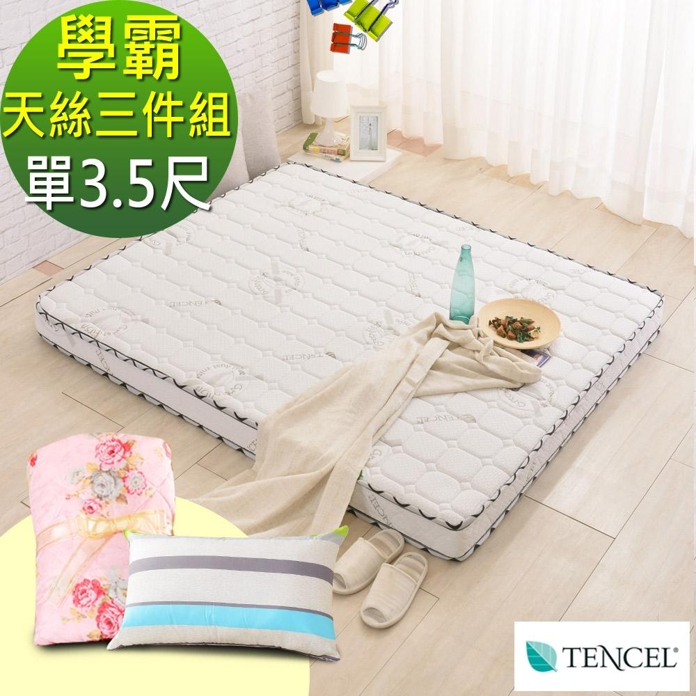 (學霸組)單大3.5尺-LooCa法國防蹣防蚊天絲頂級12cm獨立筒床-輕量型