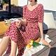 法式甜雅櫻桃印花泡泡袖高腰修身洋裝S-XL-Dorri product thumbnail 1
