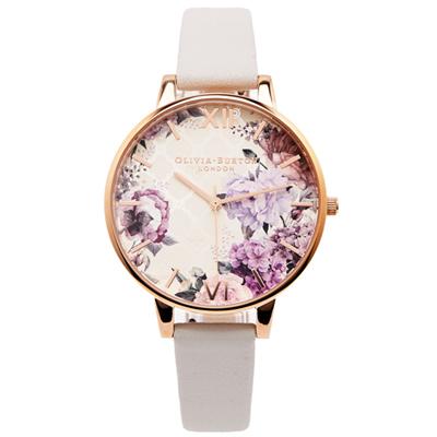 OLIVIA BURTON 雅致牡丹款皮革錶帶手錶(OB16EG97)-花朵面/38mm