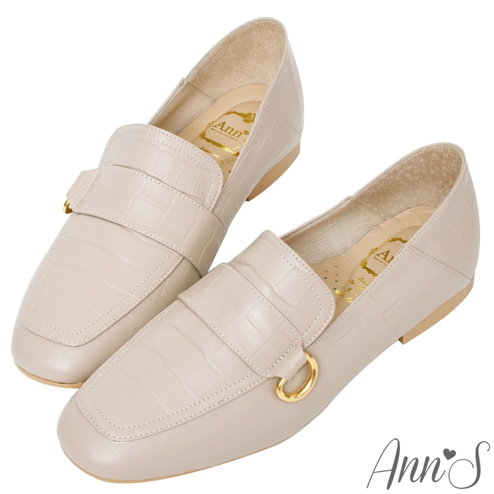 Ann'S金色D扣石頭紋牛皮真皮兩穿穆勒平底紳士鞋-粉杏