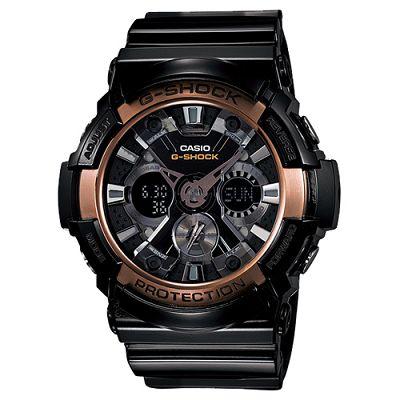 G-SHOCK 極速輪輻X紋抗磁概念錶(GA-200RG-1A)-黑x玫瑰金框/55.1mm