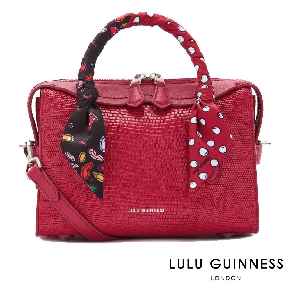 LULU GUINNESS DYLAN 綁帶手提/側背包-小 (覆盆莓紅)