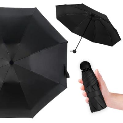 幸福揚邑 抗UV降溫8骨防風防潑水大傘面五折迷你晴雨口袋傘(黑)