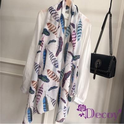 Decoy 孔雀羽毛 炫彩棉柔透膚圍巾