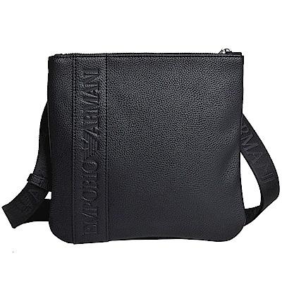 EMPORIO ARMANI 品牌字母LOGO圖騰荔枝紋方形斜背包(小/黑)