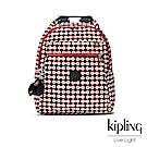 Kipling 節慶感紅黑幾何圖騰多袋實用後背包-MICAH