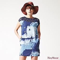 KeyWear奇威名品     MIT 100%亞麻都會休閒丹寧無袖洋裝-藍色