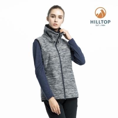 【hilltop山頂鳥】女款防風透氣保暖刷毛背心H25F87黑麻花