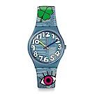 Swatch THINK FUN系列 TACOON 丹寧拼接手錶