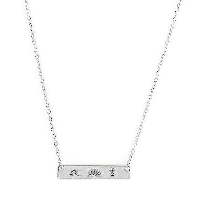 Pura Vida 美國手工 海洋符號長方墜飾銀色項鍊