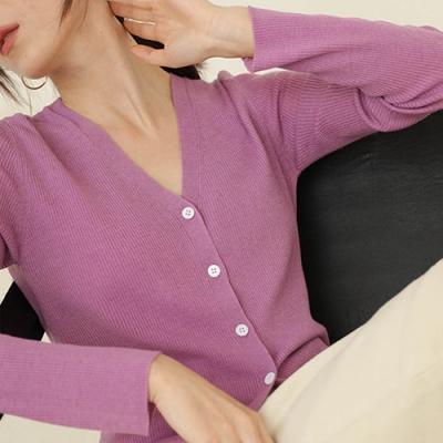 THG 韓國短版開襟V領薄針織外套- 紫/黃/粉