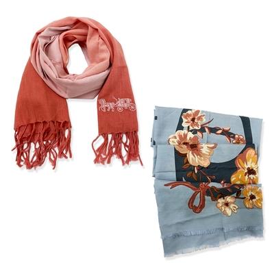 【時時樂限定】COACH 春夏薄款絲巾(多款供選)