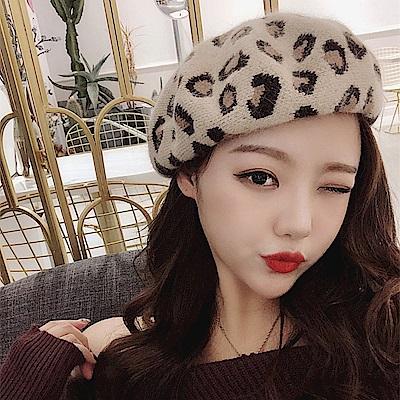 梨花HaNA 韓國限量兔毛豹紋貝蕾帽毛帽