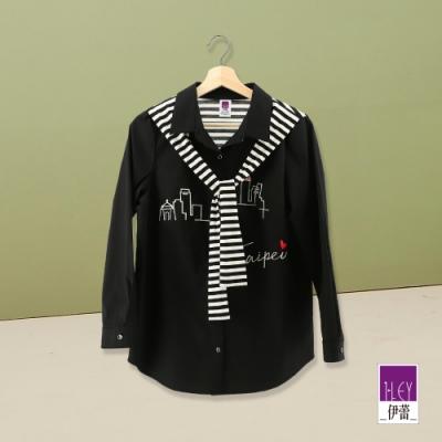 ILEY伊蕾 俏麗撞色條紋領巾刺繡上衣(黑)