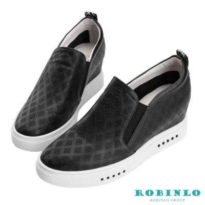 Robinlo 個性織帶菱格紋牛皮內增高休閒鞋 黑色