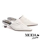 拖鞋 MODA Luxury 復古時尚抓皺羊皮穆勒高跟拖鞋-白
