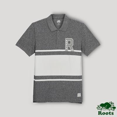 Roots男裝- 椒鹽灰系列 色塊拼接短袖POLO衫-灰色