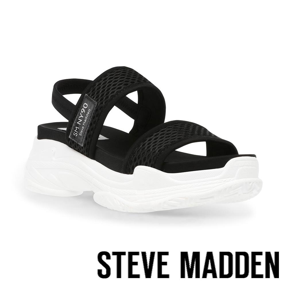 STEVE MADDEN-SAMURAI 彈性厚底透氣休閒涼鞋-黑色
