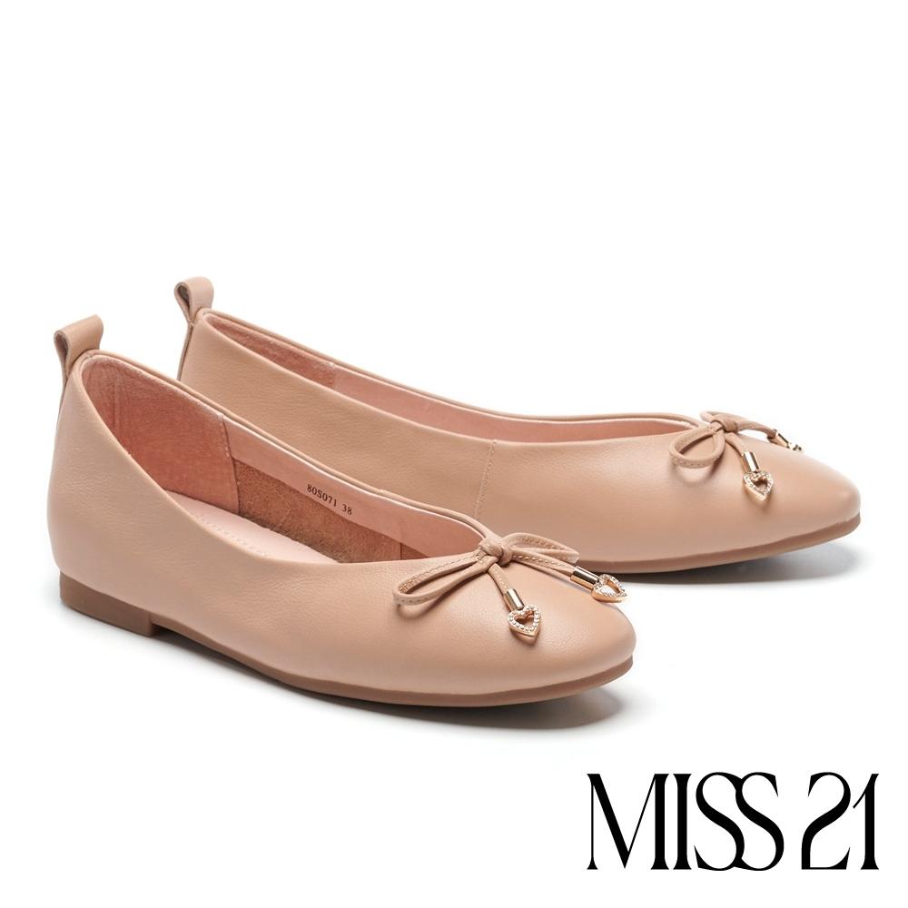 平底鞋 MISS 21 溫柔日常蝴蝶結設計全真皮平底鞋-粉