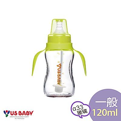 優生真母感手把吸管玻璃奶瓶(一般120ml-綠)